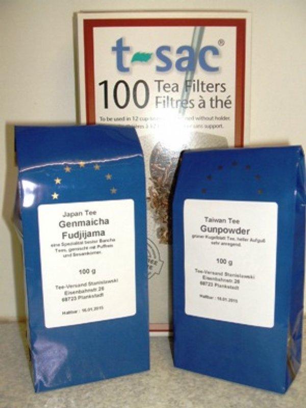 2 Teesorten plus gratis 100 Kannenfilter Gr 4
